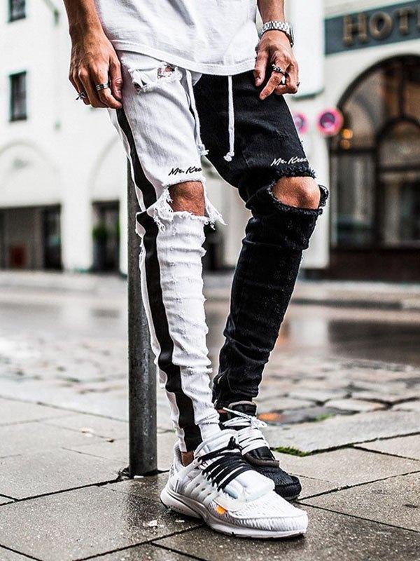 Men's Ripped Color Block Jeans - White L