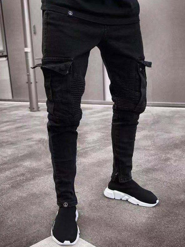 Men's Pocket Distressed Slim Jeans - Black M