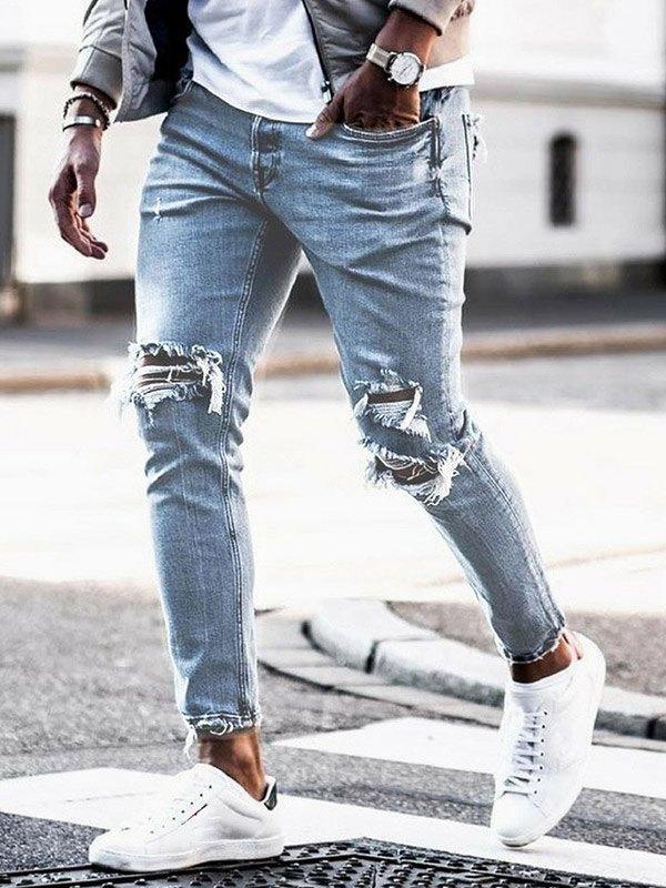 Men's Ripped Knee Slim Jeans -
