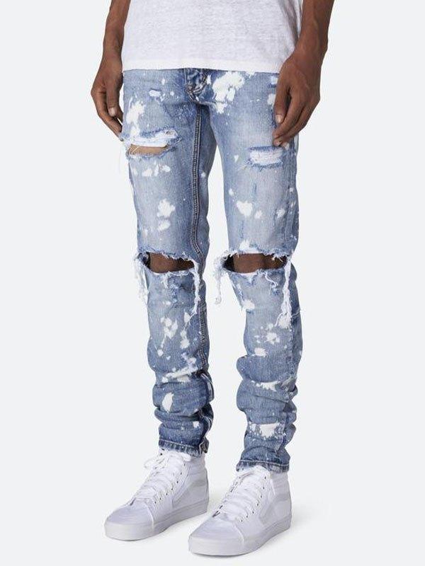 Men's Frayed Painted Slim Jeans - Blue S