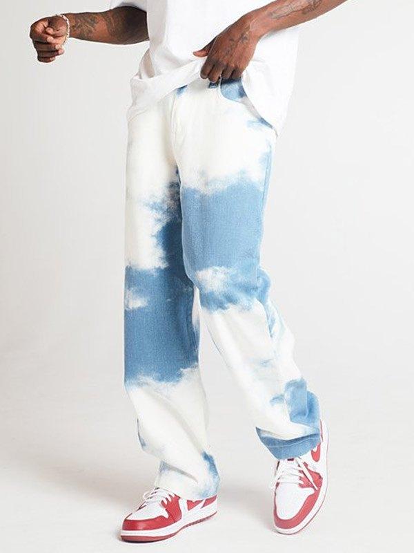 Jean droit tie-dye pour hommes - Bleu S