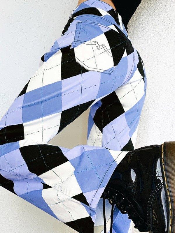 Argyle High Waist Straight Pants - multicolorple Colors L