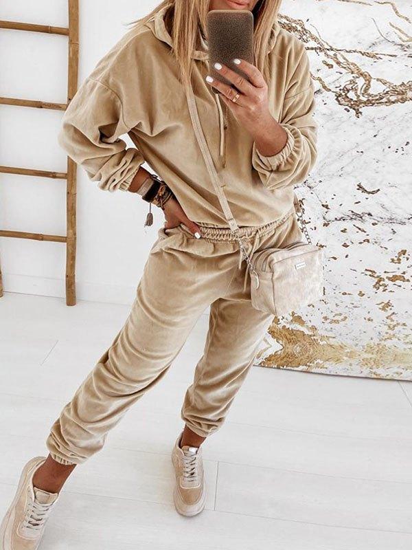 Plain Velvet Two-Piece Outfit - Camel S