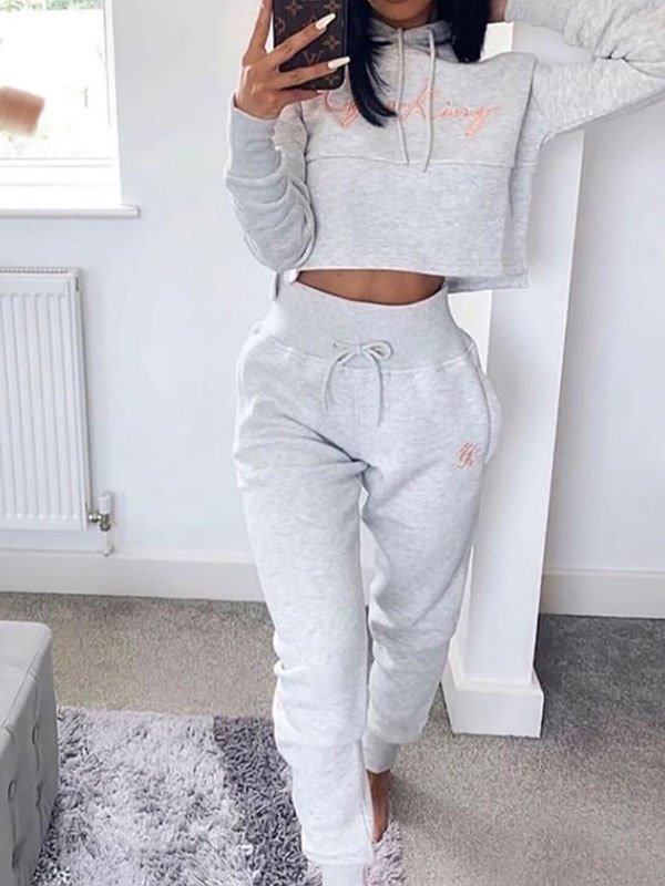 Letter Print Active Two-Piece Outfit - Gray L