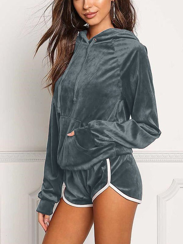 Velvet Casual Tracksuit Two-Piece Outfit - Gray S