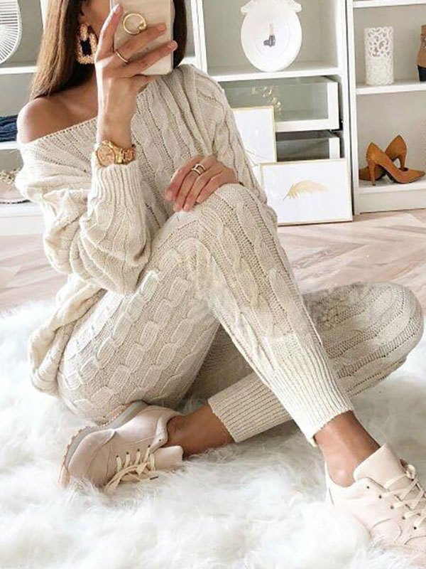 Cozy Solid Knit Two-Piece Outfit - Beige 2XL