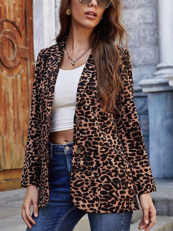 Leopard Print Casual Blazer - Leopard Print S