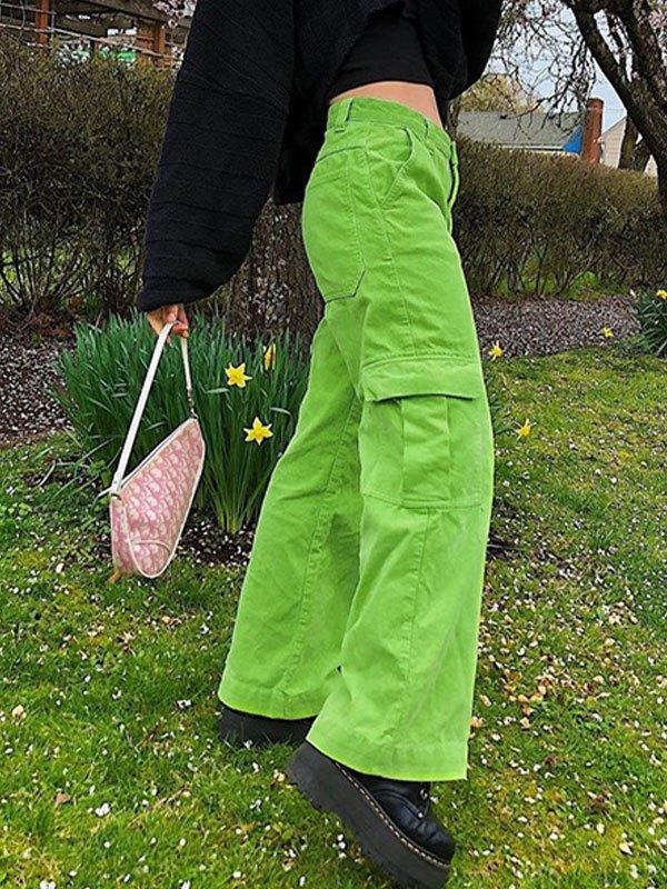 Corduroy High Waist Straight Pants - Green M