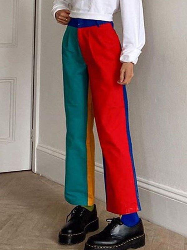 Rainbow Color Block Straight Pants - multicolorple Colors S