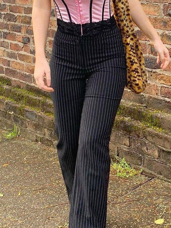 Striped Straight Suit Pants - Black M