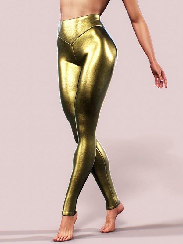 Faux Leather Stretch Legging - Golden L