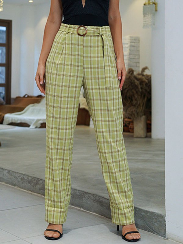 Plaid High Waist Belted Straight Pants - Sorbet Lime Green L