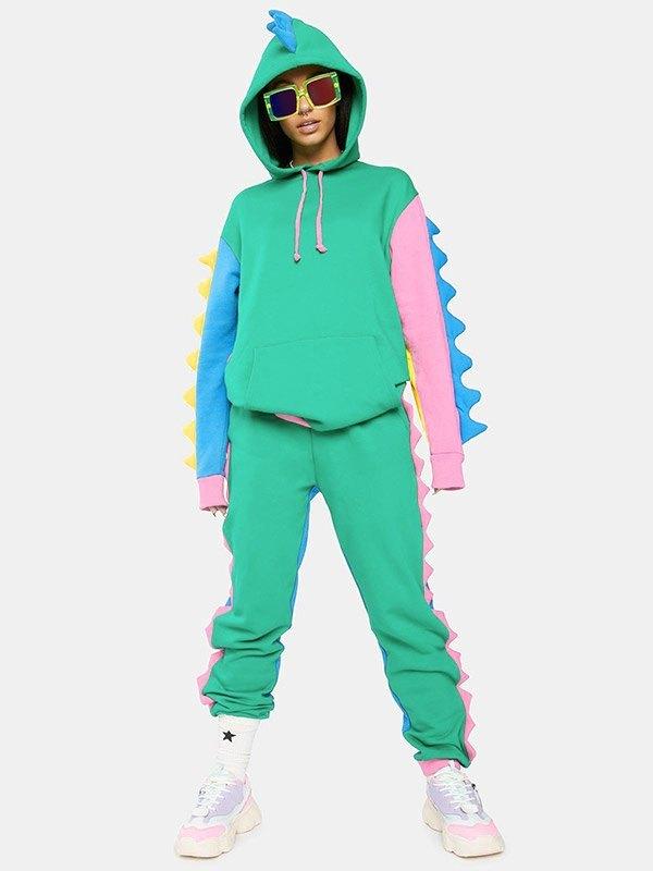 Dinosaur Decor Tracksuit Two-Piece Outfit - multicolorple Colors 2XL