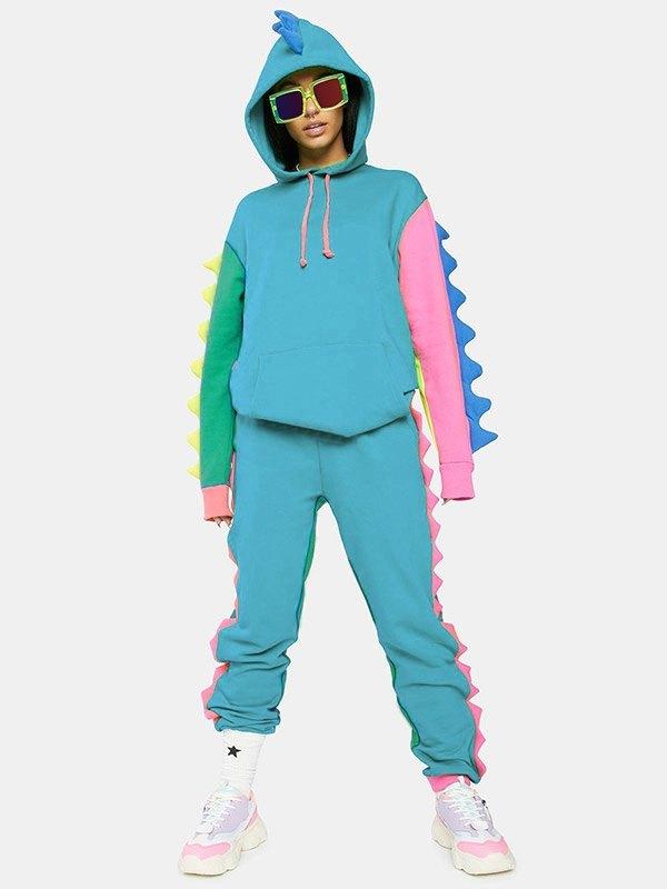 Dinosaur Decor Tracksuit Two-Piece Outfit - multicolorple Colors L