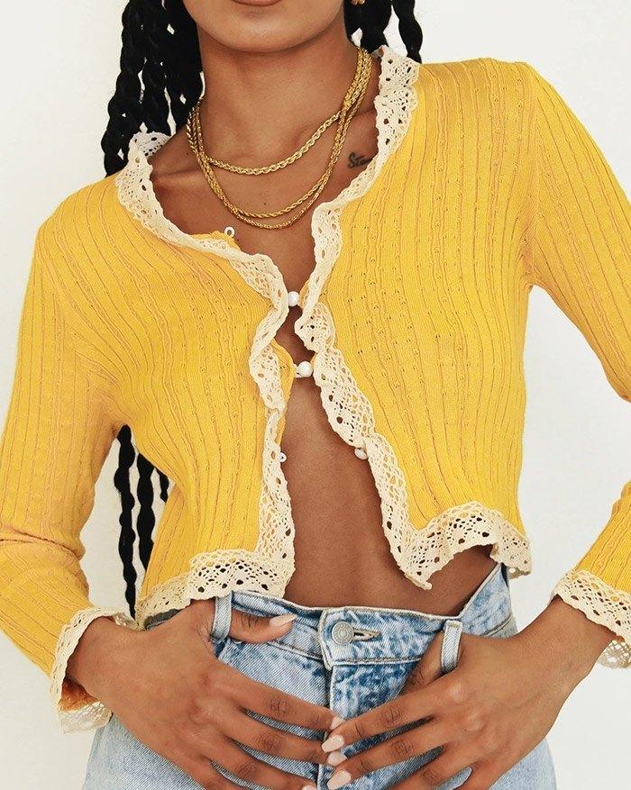 Crochet Trim Button Knit - Yellow S