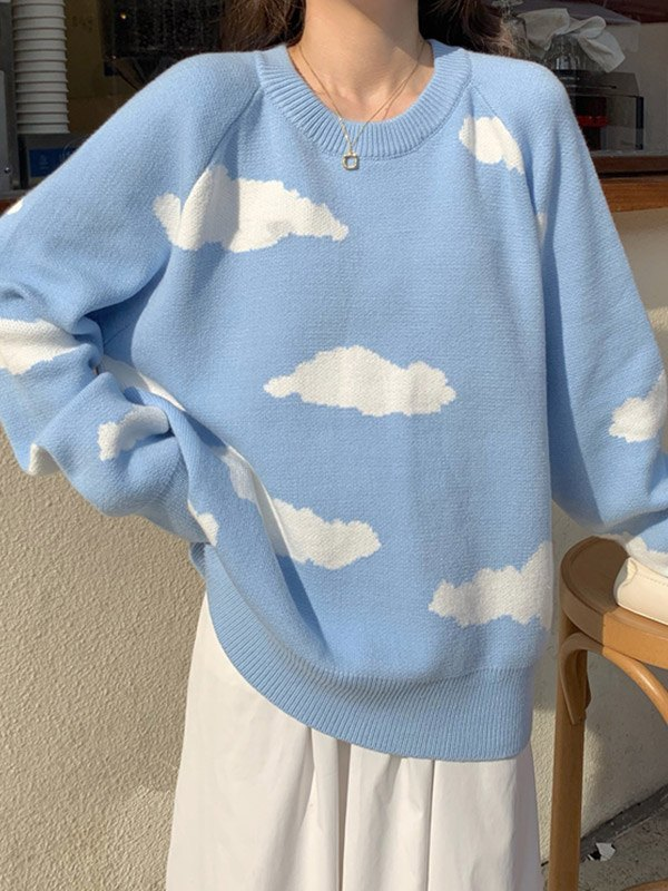Cloud Print Pullover Sweater -