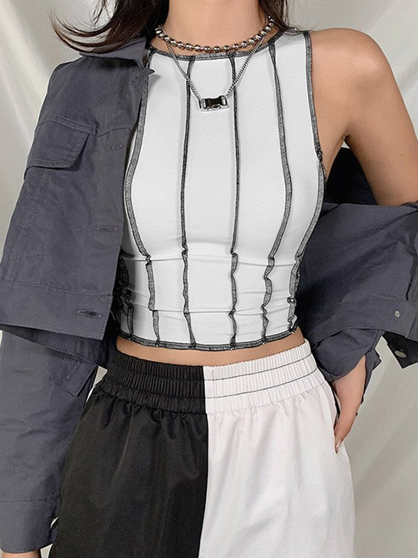 Patchwork Cropped Tank Top - White S