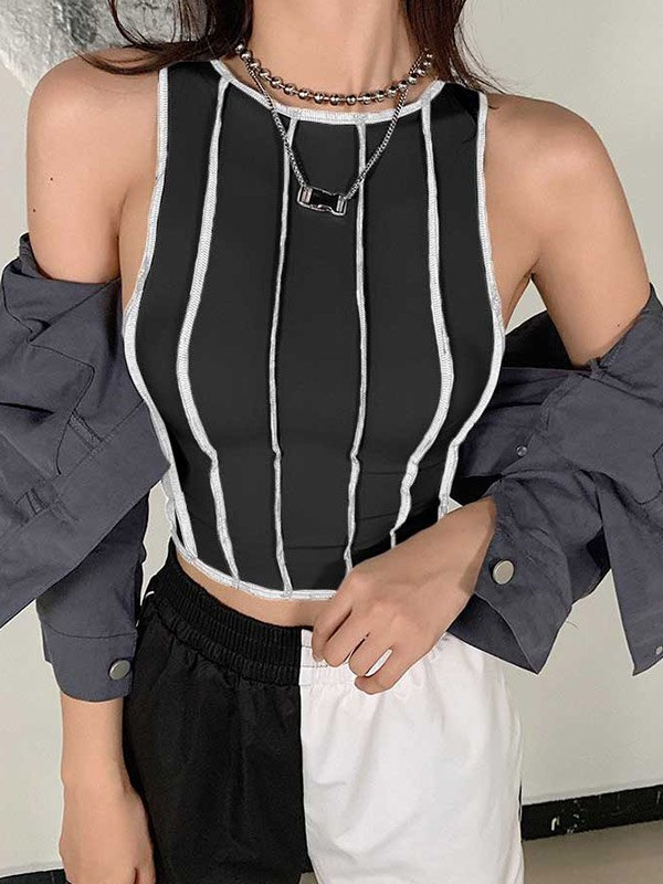 Patchwork Cropped Tank Top - Black L