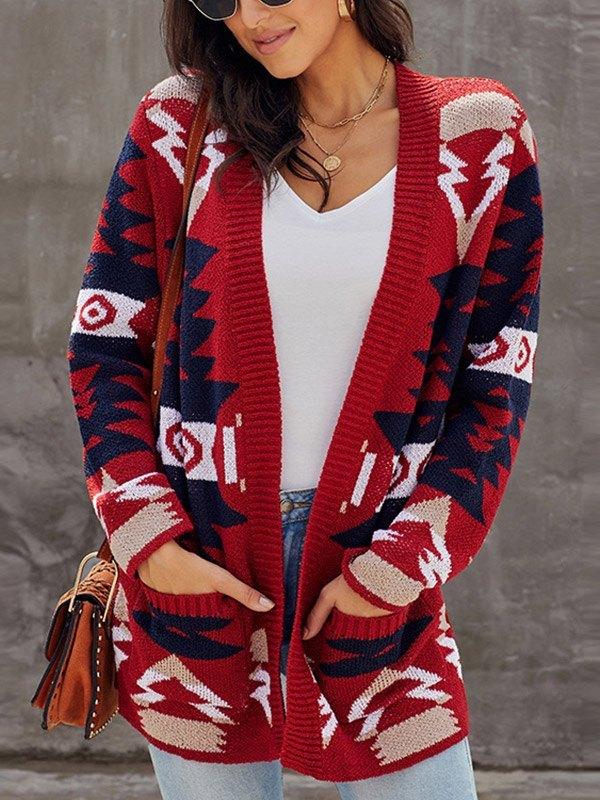 Christmas Geometric Print Knitted Cardigan - Red 2XL