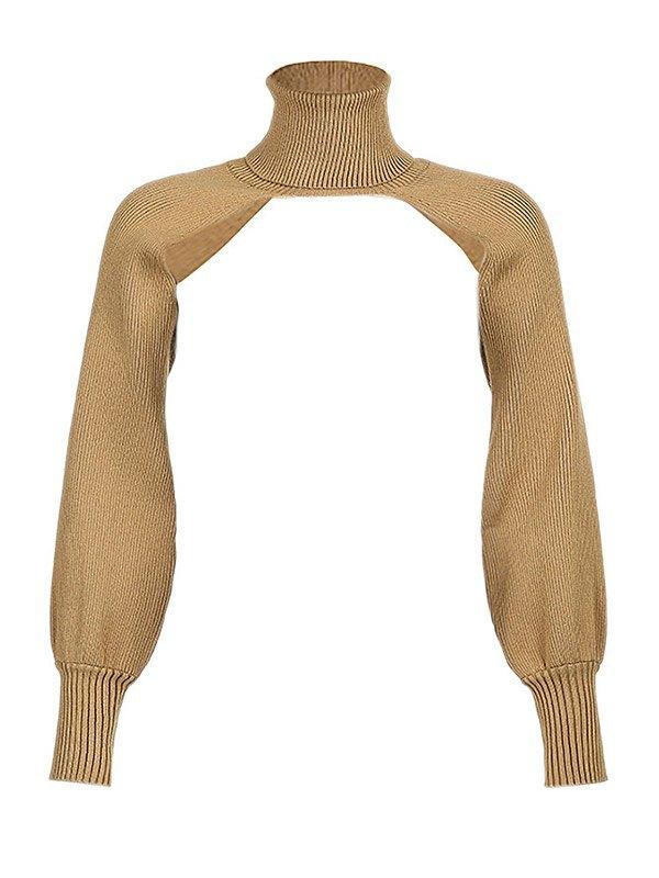 Turtleneck Arm Warmer Super Crop Sweater - Camel ONE SIZE
