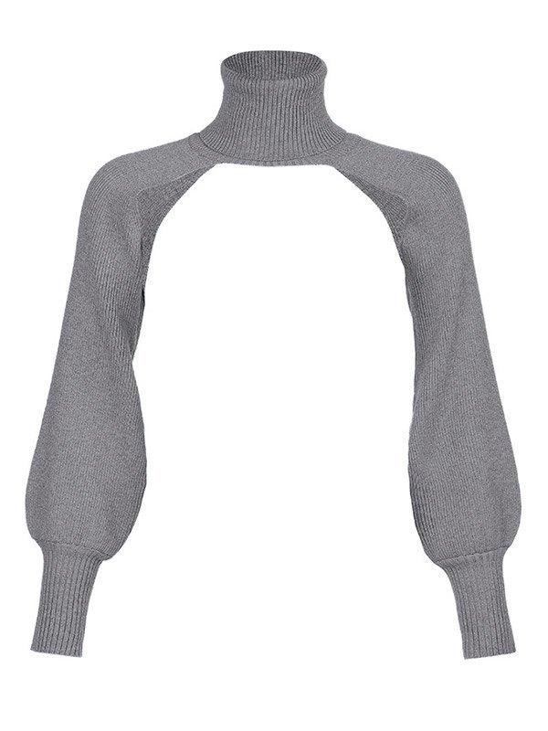 Turtleneck Arm Warmer Super Crop Sweater - Grey ONE SIZE