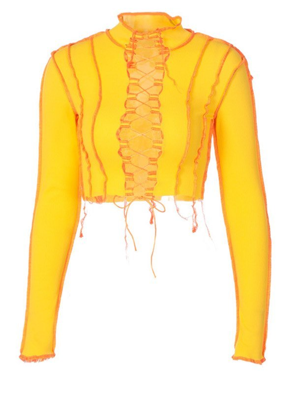 Stand Collar Patchwork Lace Up Knit - Yellow L