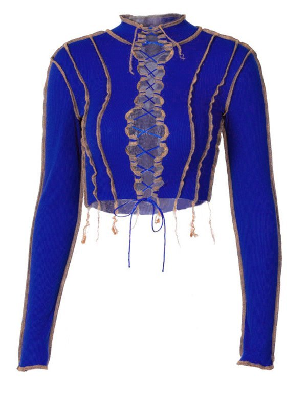 Stand Collar Patchwork Lace Up Knit - Blue L