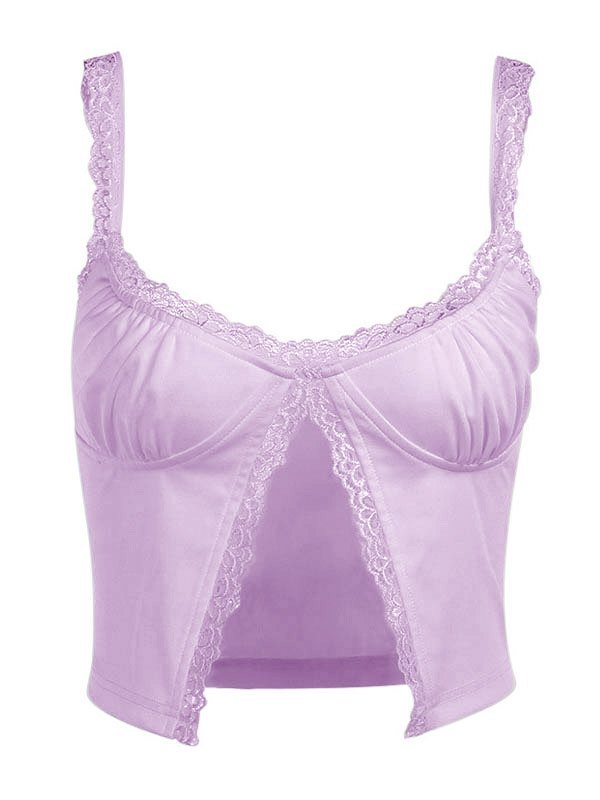 Embroidery Lace Trim Cami Top - Lilac S