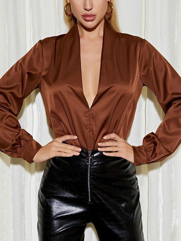 Deep V Patchwork Bodysuit - Brown L