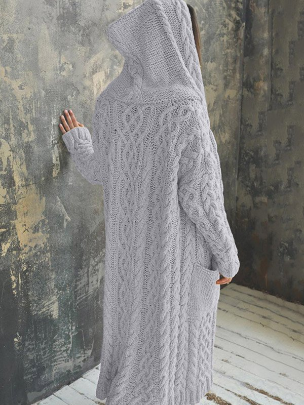 Knit Twist Hooded Maxi Cardigan - Gray S
