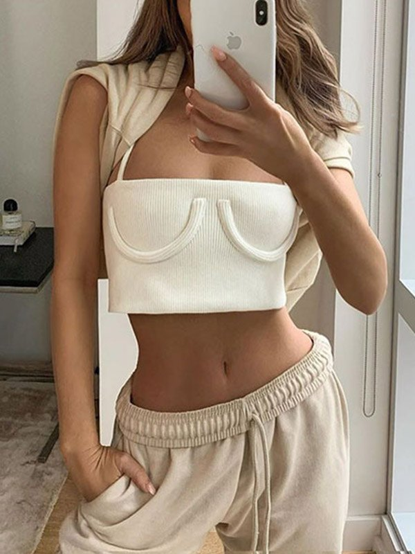 Ribbed Crop Cami Top - White M