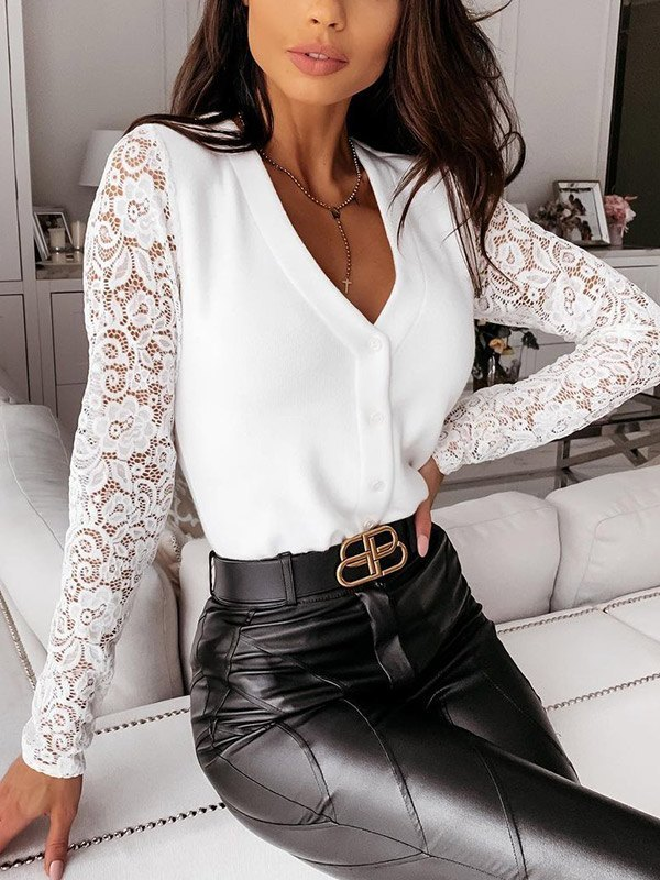 Lace Paneled Long Sleeve Buttoned Knit - White L