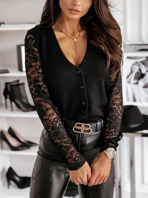 Lace Paneled Long Sleeve Buttoned Knit - Black S