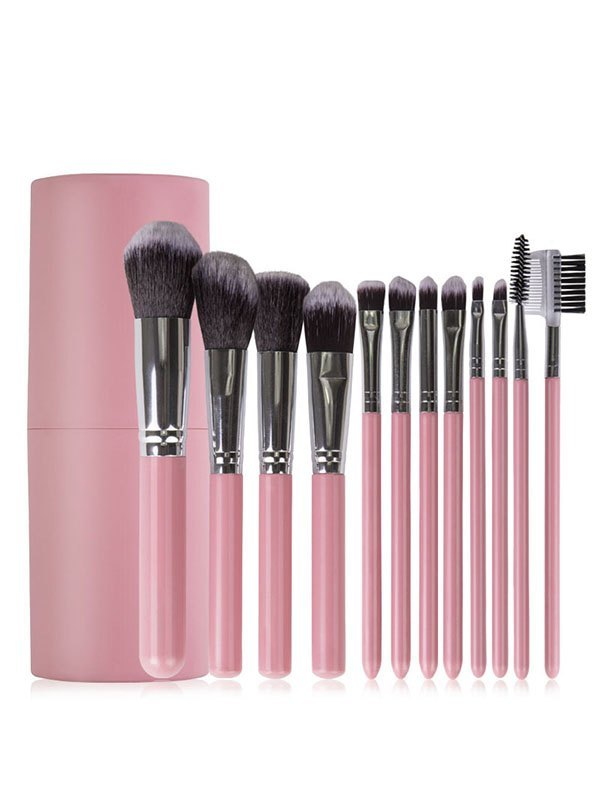 12 Pieces Makeup Brush Set Beauty Tool - Pink ONE SIZE