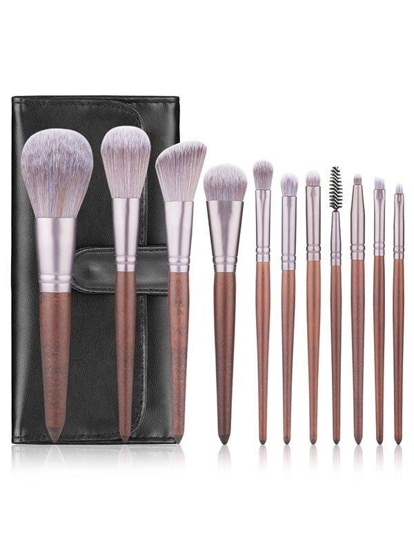 11 Pcs Beginner Brush Set Beauty Tool - Brown ONE SIZE