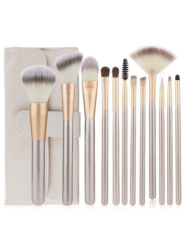12Pcs Basic Makeup Brush Set Beauty Tool - White ONE SIZE
