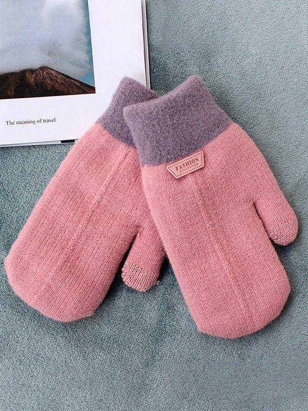 Warm Thick Woolen Gloves - Pink ONE SIZE