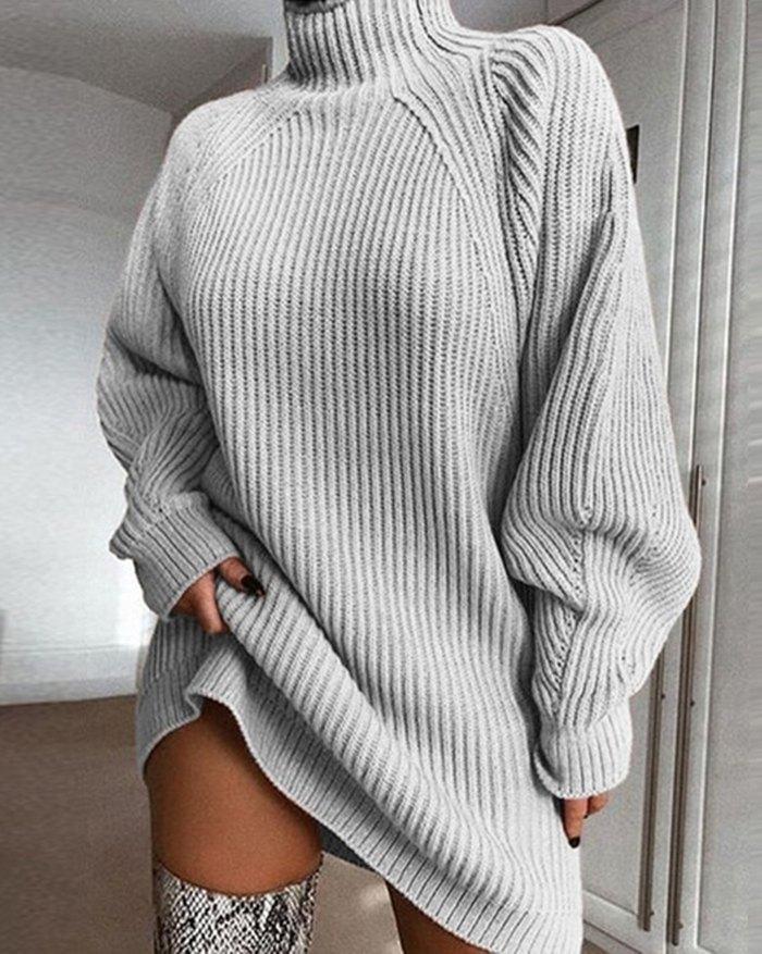 Solid Rib-Knit Sweater Dress - Gray L