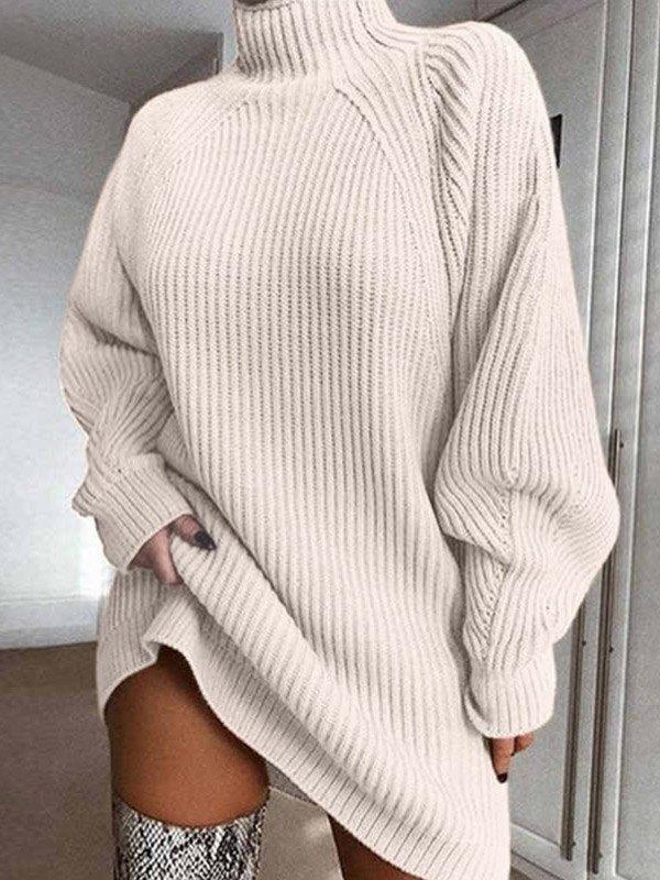 Solid Rib-Knit Sweater Dress - Beige L