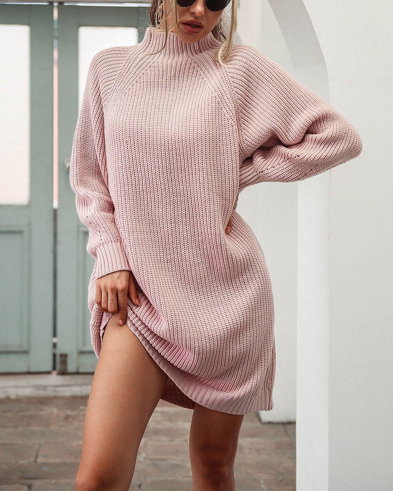 Solid Rib-Knit Sweater Dress - Pink M