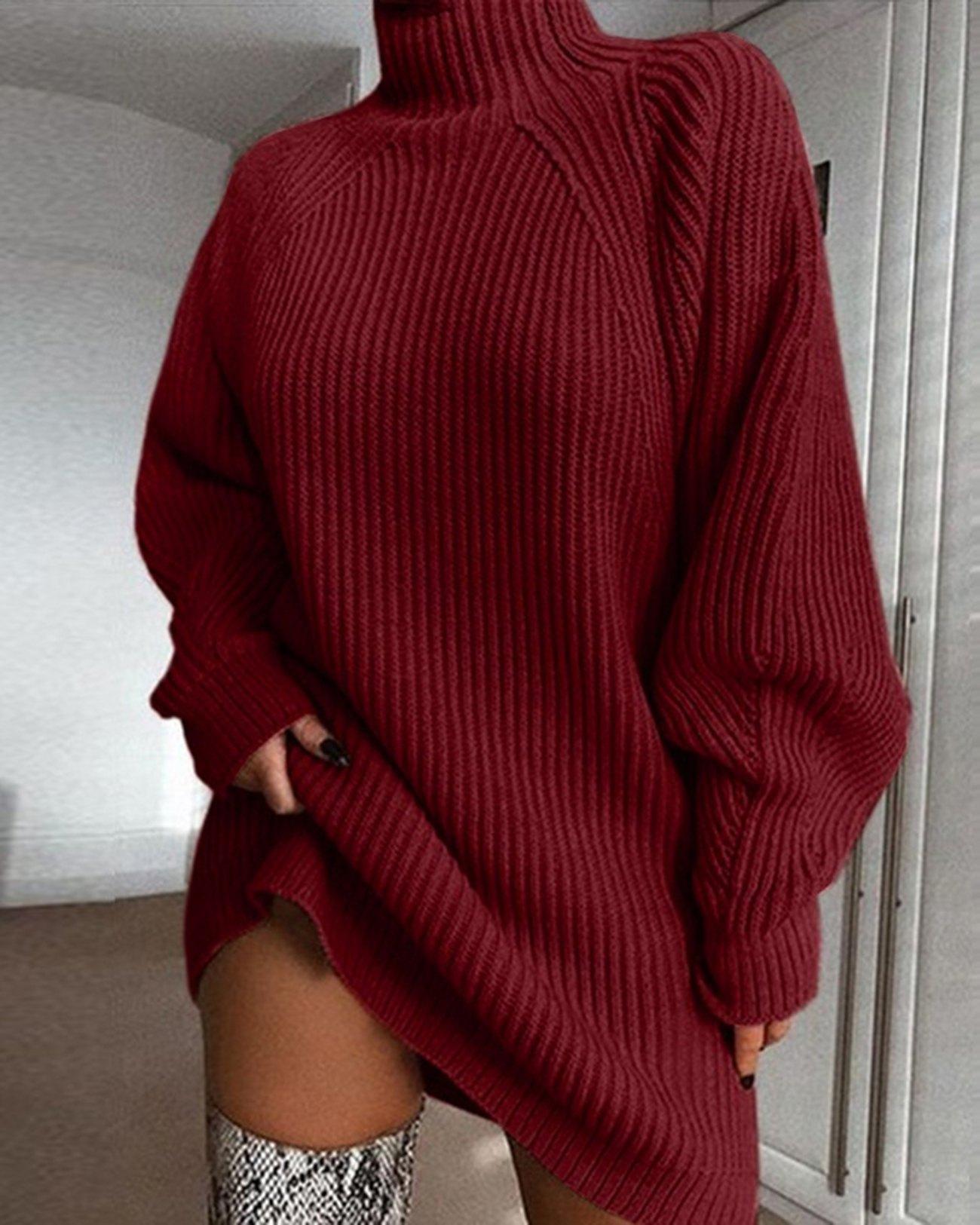 Solid Rib-Knit Sweater Dress - Red M