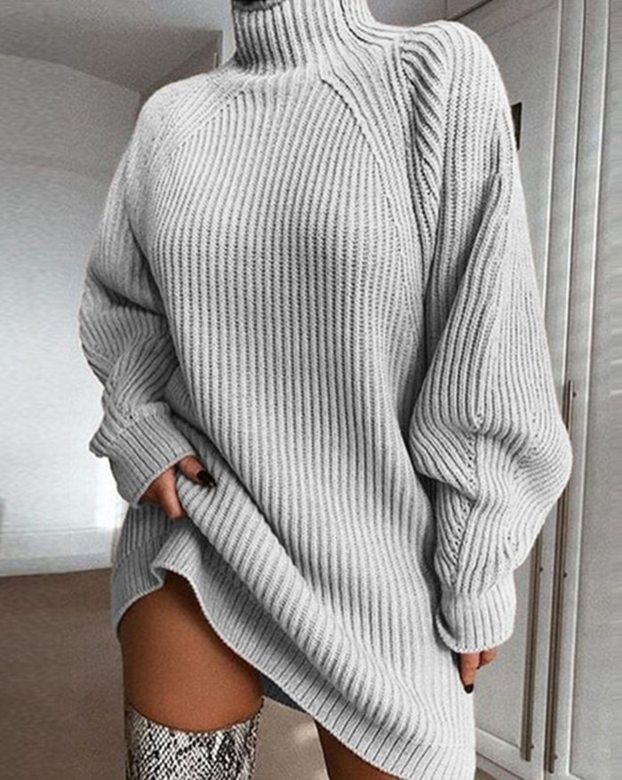 Solid Rib-Knit Sweater Dress - Gray XL