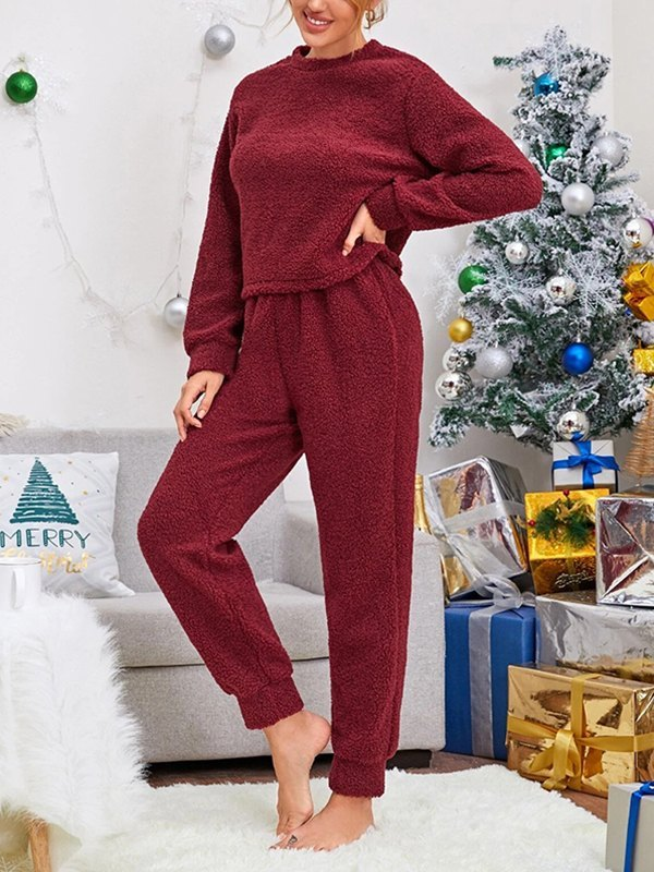 Solid Plush Teddy Top With Pants Lounge Set - Burgundy L