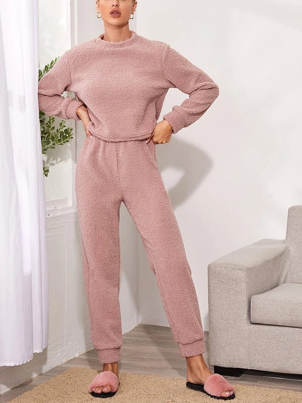Solid Plush Teddy Top With Pants Lounge Set - Pink L