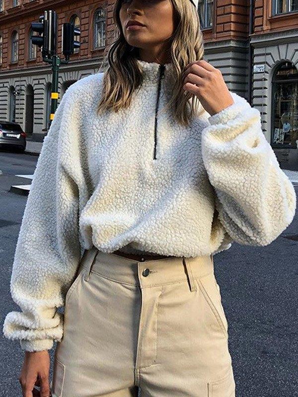 Half-zip Sherpa Sweatshirt - White M