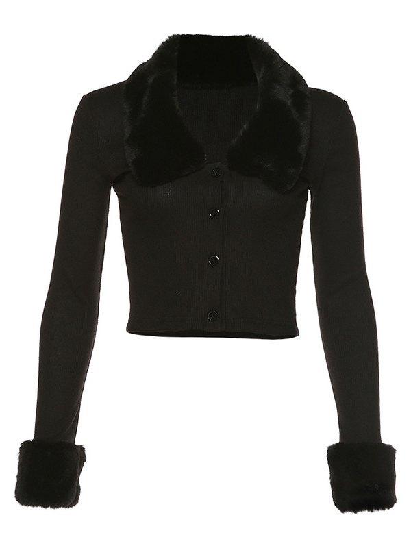 Black Faux Fur Crop Cardigan - Black M