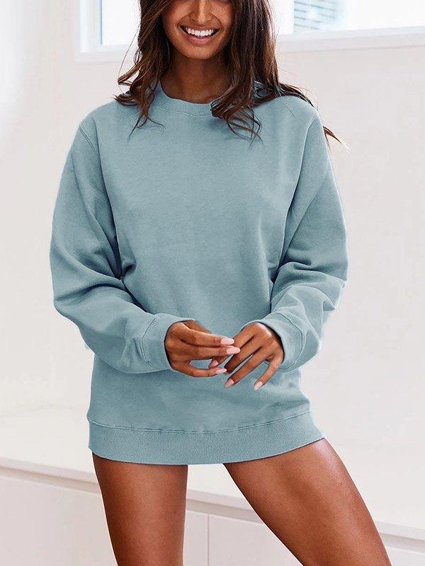 Solid Basic Sweatshirt - Blue M