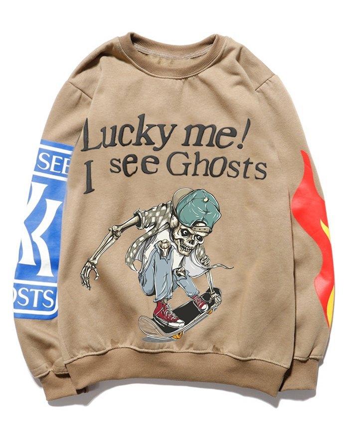 Funny Dabbing Skeleton Skateboarding Sweatshirt - Khaki XS