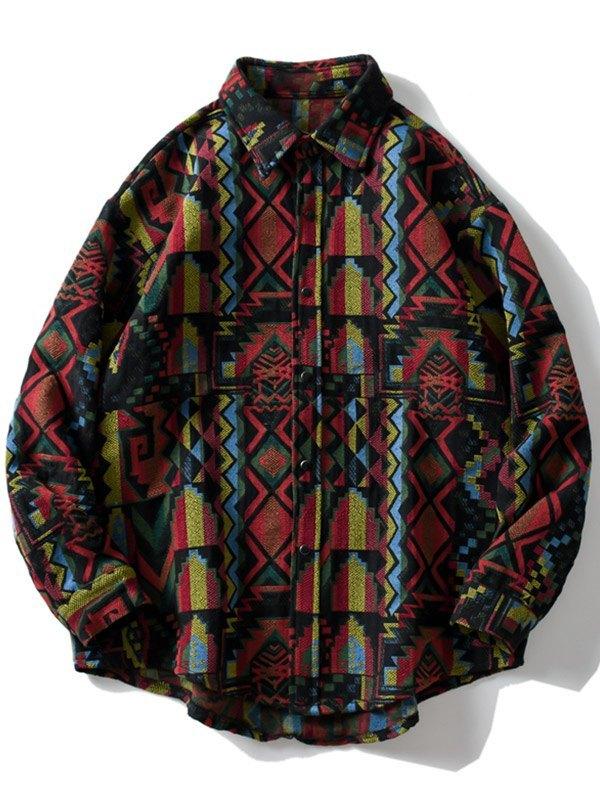 Chemise boutonnée imprimée pour hommes - Couleurs multicolorples L