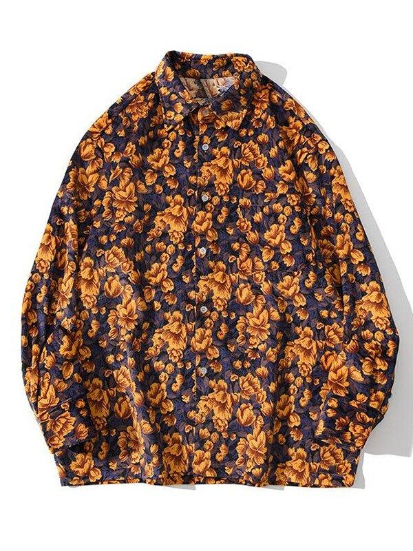 Chemise boutonnée à imprimé floral pour hommes - Jaune XL